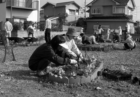 眞須美死刑囚宅の跡地に草花を植える自治会住民ら
