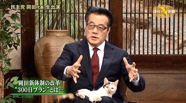 民主党・岡田克也代表のひざの上から動かないにゃーにゃ(3月21日放送)
