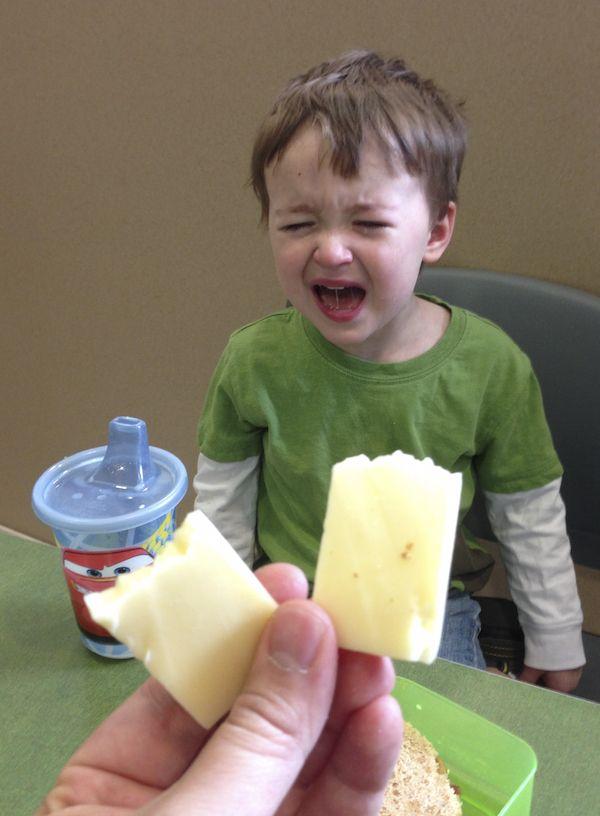 なぜ泣いてるの?「チーズを半分に割られたからあ〜」