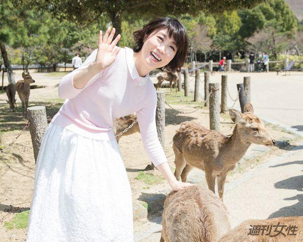 「中3の修学旅行以来、27年ぶりの奈良公園です」(撮影/廣瀬靖士)