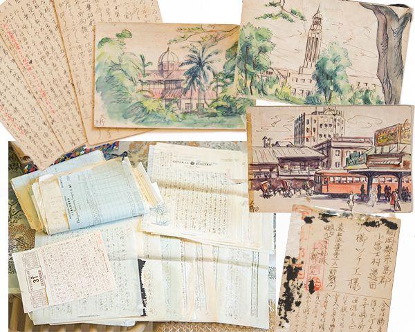 【写真】戦地から届いた仁九郎さんの手紙やハガキ。ときには自筆の絵ハガキも