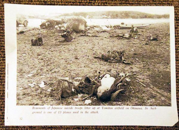 【写真】5月下旬、日本の主力部隊が撤退を始めたころ、味方や住民を助けるために米軍に突撃した日本軍。手前の兵士は下半身が切断されている(吉嶺さん提供)